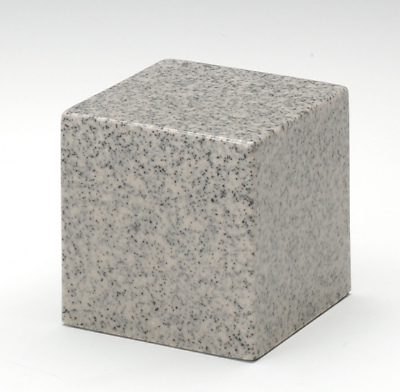 Small Cube Mist Gray Granite Keepsake Cremation Urn 18 Cubic Inches TSA Approved