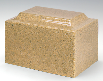 Classic Gold Granite Adult Funeral Cremation Urn, 210 Cubic Inches TSA Approved