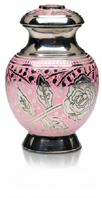 Small/Keepsake 3 Cubic Inch Pink Rose Nickel Plated Brass Funeral Cremation Urn