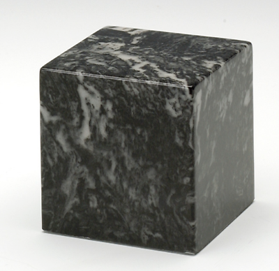 Small Cube Marble Ebony Keepsake Cremation Urn,18 Cubic Inches, TSA Approved