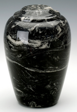 Load image into Gallery viewer, Small Grecian Marble Ebony Keepsake Cremation Urn, 35 Cubic Inches TSA Approved