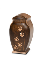 Load image into Gallery viewer, Small/Keepsakes 40 Cu. Inch Black Walnut and Beech Woods Pet Urn with Five Paws