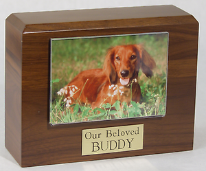 Small 55 Cubic Inches Walnut Pet Photo Urn for Ashes with Engravable Nameplate