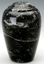 Load image into Gallery viewer, Large Grecian Marble Ebony Adult Cremation Urn, 190 Cubic Inches TSA Approved