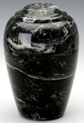 Large Grecian Marble Ebony Adult Cremation Urn, 190 Cubic Inches TSA Approved