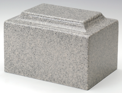 Keepsake Classic Gray Granite Funeral Cremation Urn, 25 Cubic Inch, TSA Approved