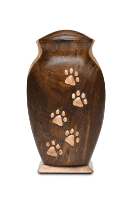 Small/Keepsakes 40 Cu. Inch Black Walnut and Beech Woods Pet Urn with Five Paws