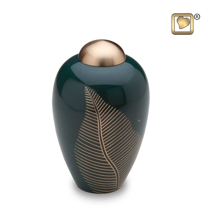 Emerald Elegant Leaf Medium Pet 60 Cubic Inches Funeral Cremation Urn For Ashes