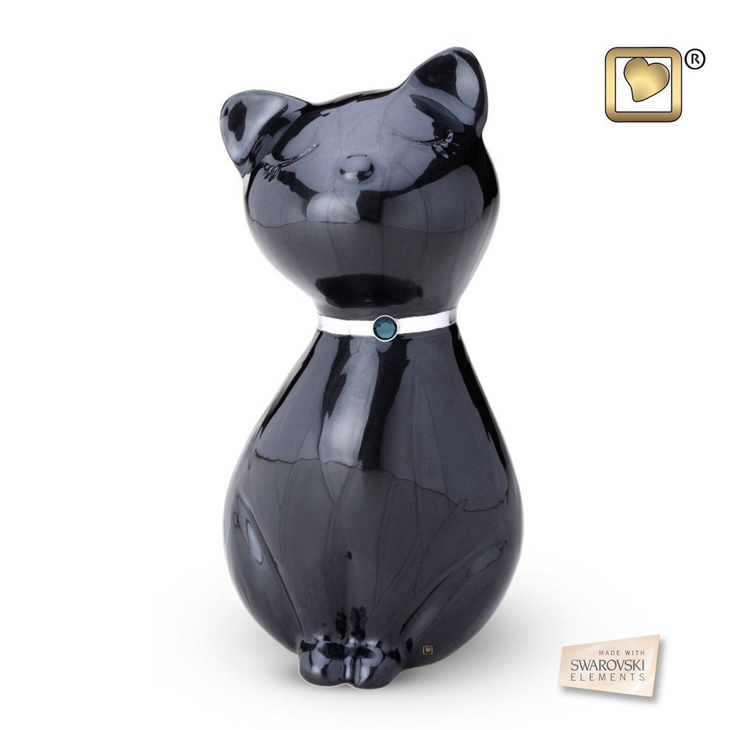 Midnight Princess Cat Pet Funeral Cremation Urn, 43 Cubic Inches