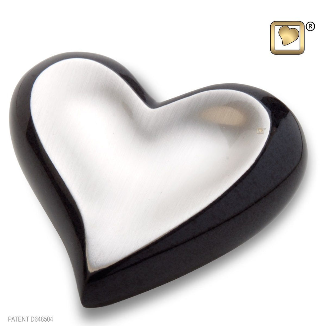 Brushed Pewter Midnight Keepsake Heart Funeral Cremation Urn, 2.5 Cubic Inches