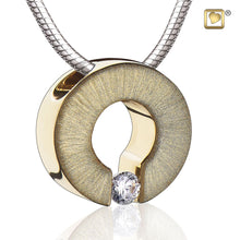 Load image into Gallery viewer, Omega Gold Vermeil 925 Silver 2-Tone Cremation Pendant Urn with crystal & chain