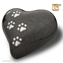 Load image into Gallery viewer, Black Pearlescent Heart Large Pet Funeral Cremation Urn, 67 Cubic Inches