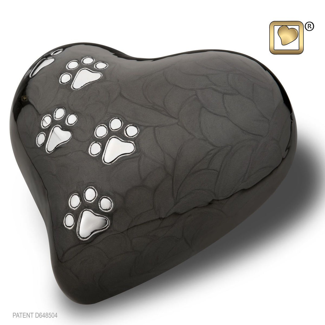 Black Pearlescent Heart Large Pet Funeral Cremation Urn, 67 Cubic Inches