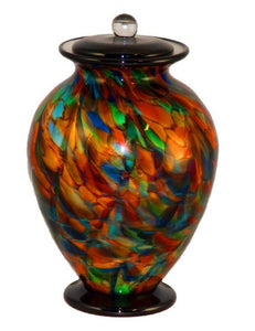 XL/Companion 400 Cubic Inch Venice Autumn Funeral Glass Cremation Urn for Ashes