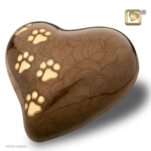 Bronze Pearlescent Heart Large Pet Funeral Cremation Urn, 67 Cubic Inches