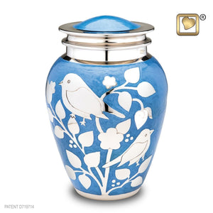 Silver Blessing Birds Adult Funeral Cremation Urn, 225 Cubic Inches