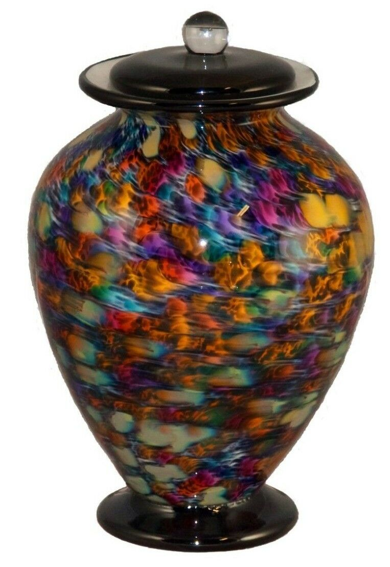 Large/Adult 220 Cubic Inch Venice Desert Funeral Glass Cremation Urn for Ashes