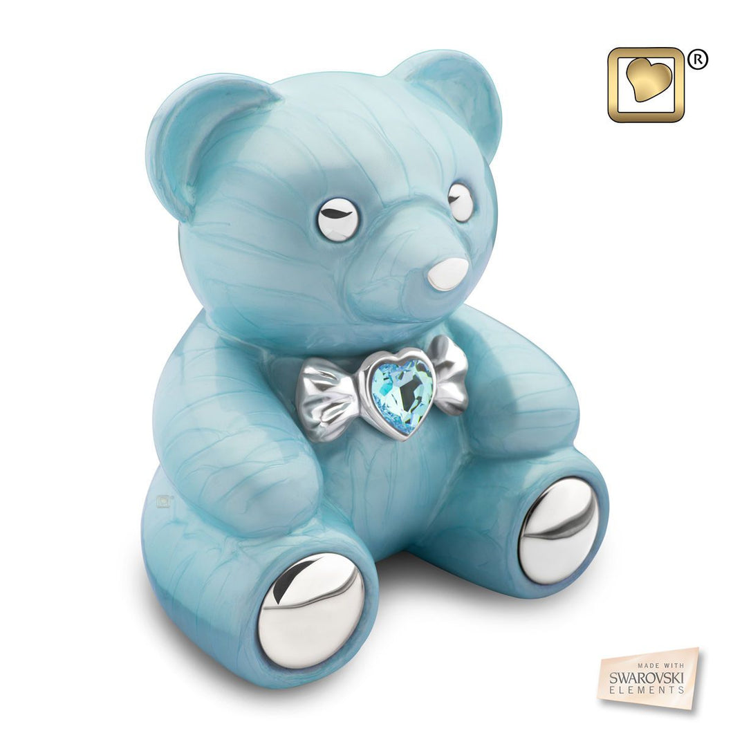 Blue Cuddle Bear Funeral Cremation Urn for Ashes, 100 Cubic Inches