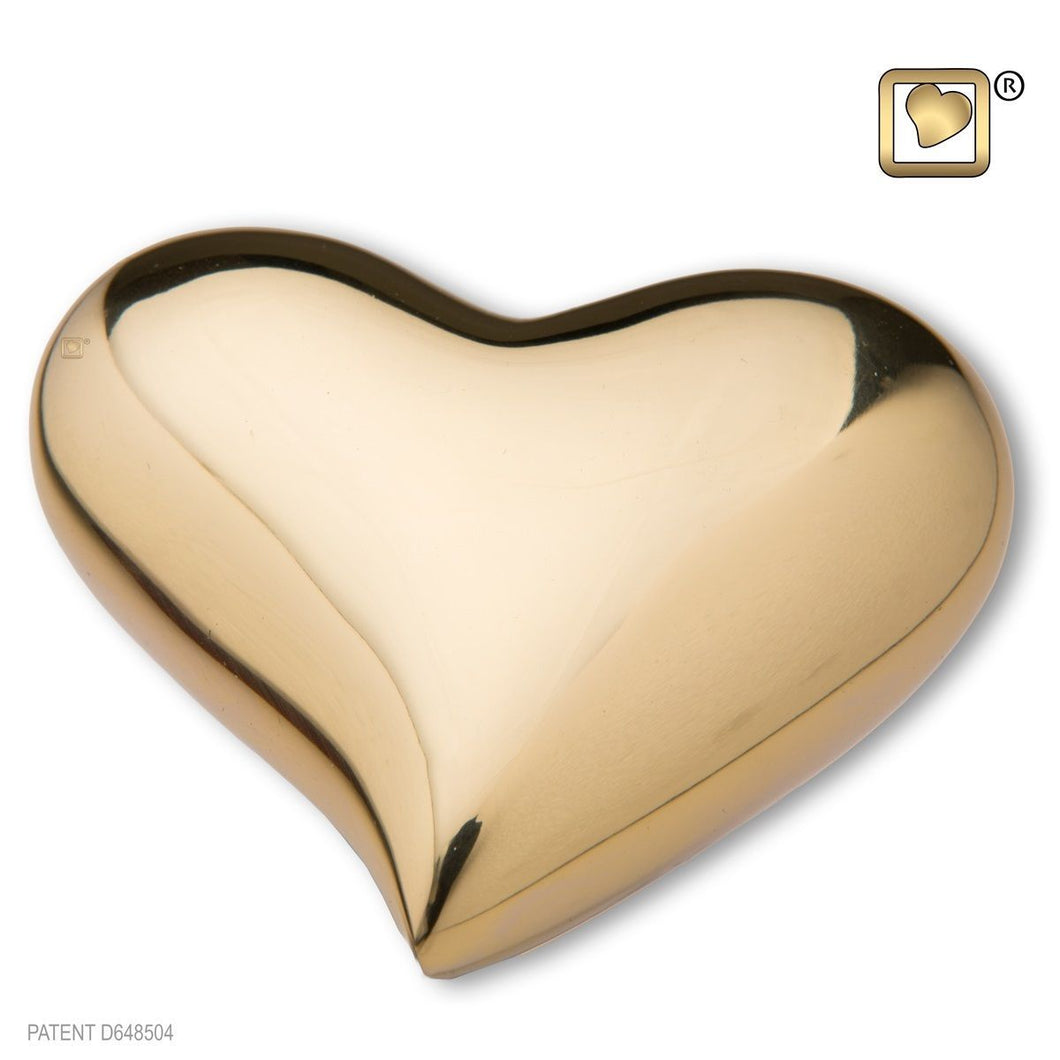 Heart Bright Gold Keepsake Heart Funeral Cremation Urn,  2.5 Cubic Inches
