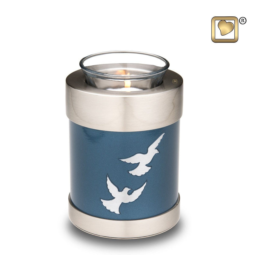 Flying Doves Tealight Infant/Child/Pet Funeral Cremation Urn, 18 Cubic Inches