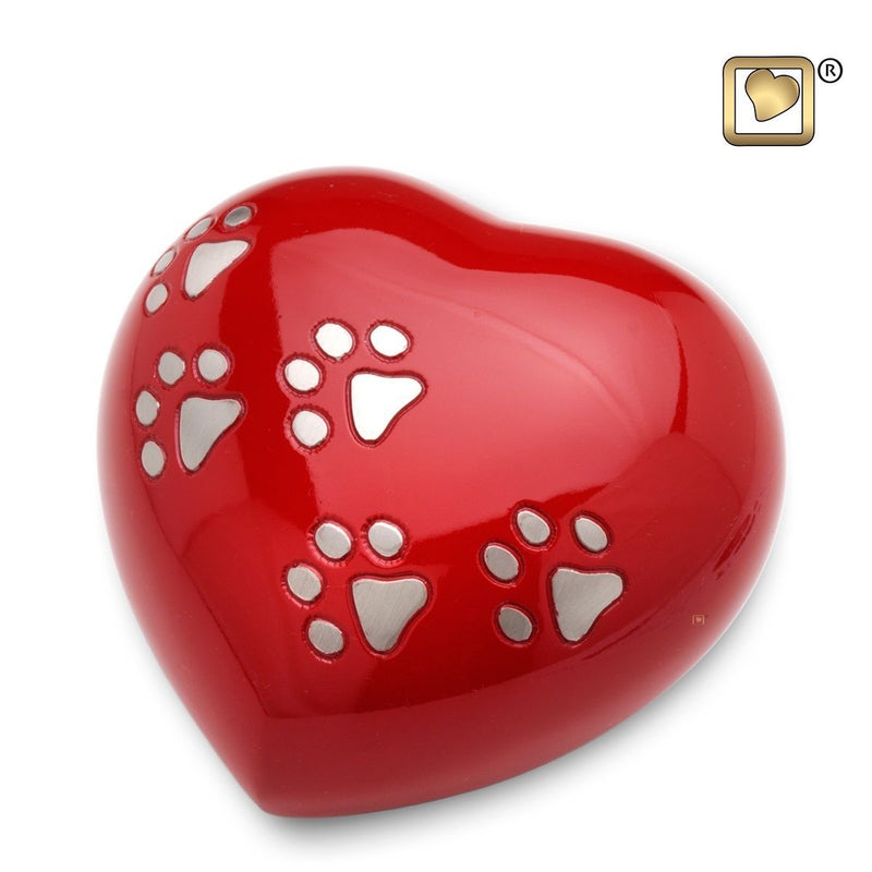 Medium Red LoveHeart Pet Funeral Cremation Urn, 20 Cubic Inches