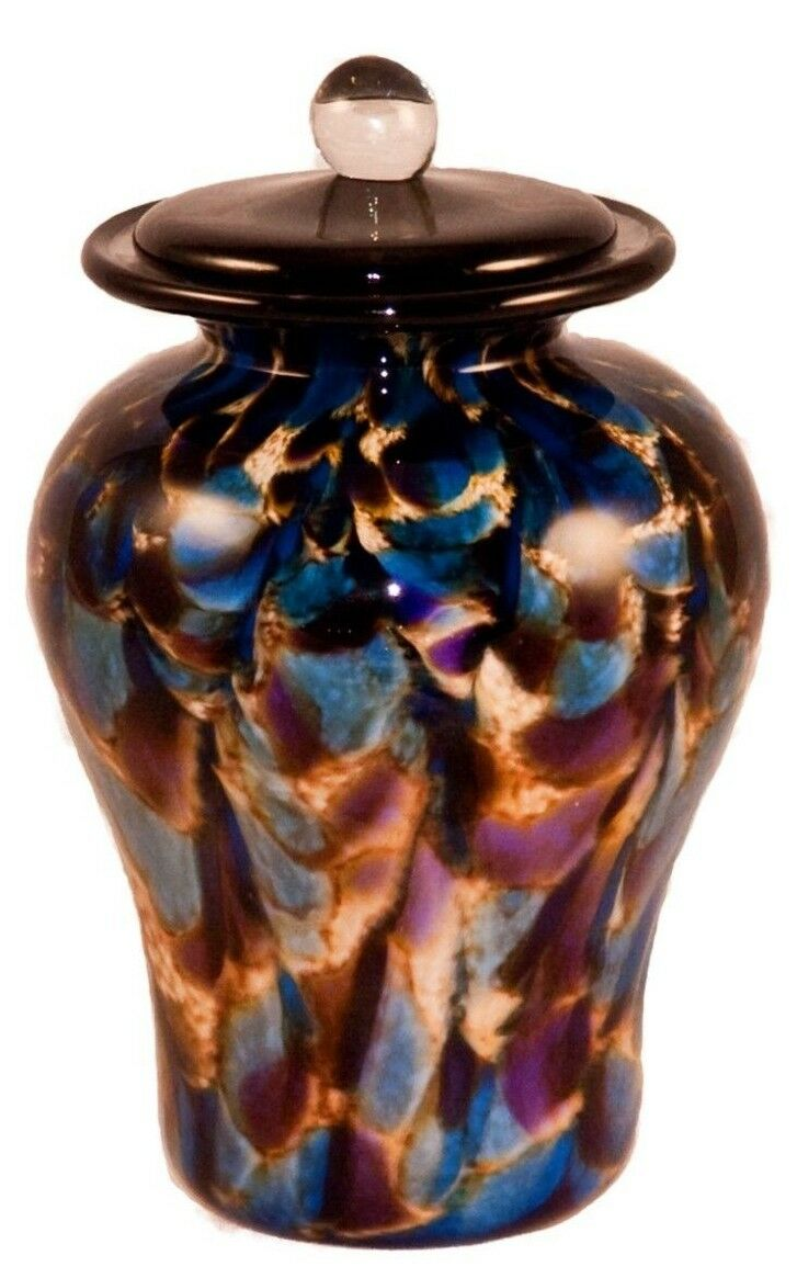 100 Cubic Inch Palermo Evening Funeral Glass Cremation Urn for Ashes