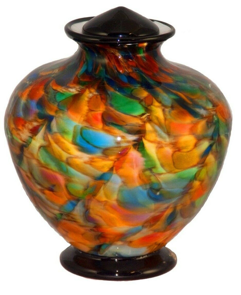 XL/Companion 400 Cubic Inch Milan Autumn Funeral Glass Cremation Urn for Ashes