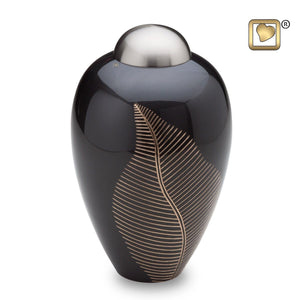 Midnight Elegant Leaf Adult Funeral Cremation Urn, 180 Cubic Inches