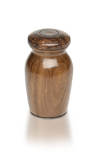 Load image into Gallery viewer, Extra Small Rosewood Vase with Pink Paw Print Charm Pet Cremation Urn for Ashes