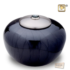 Simplicity Midnight Pearl Round Adult Funeral Cremation Urn, 110 Cubic Inches