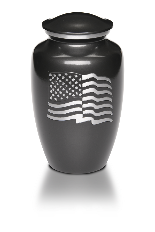 Large/Adult 200 Cubic Inches American Flag Alloy Funeral Cremation Urn for Ashes