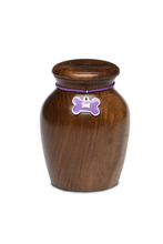 Load image into Gallery viewer, Medium Rosewood Vase with Purple Bone CHARM Pet Cremation Urn for Ashes