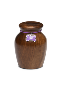 Medium Rosewood Vase with Purple Bone CHARM Pet Cremation Urn for Ashes