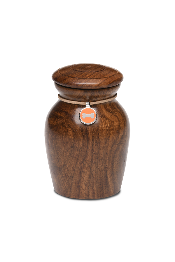 Small/Keepsakes Rosewood Vase with Orange Bone Charm Pet Cremation Urn for Ashes