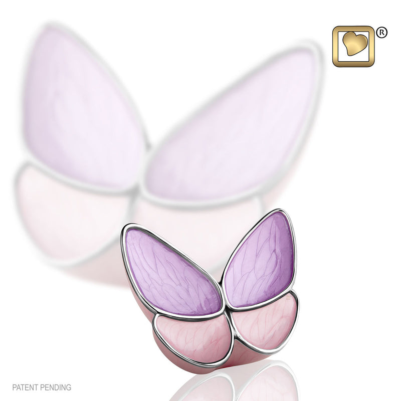Lavender Butterfly Wings of Hope Keepsake Funeral Cremation Urn, 3 Cubic Inches