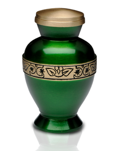 Small/Keepsake 3 Cubic Inch Vibrant Green Brass Funeral Cremation Urn