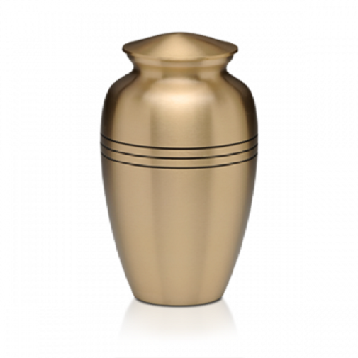 Large/Adult 200 Cubic Inch Brushed Brass 3 Rings Funeral Cremation Urn for Ashes