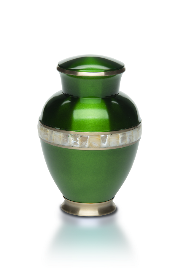 Large/Adult Emerald Green Jewel Tone Brass w/ Mother of Pearl Band Cremation Urn