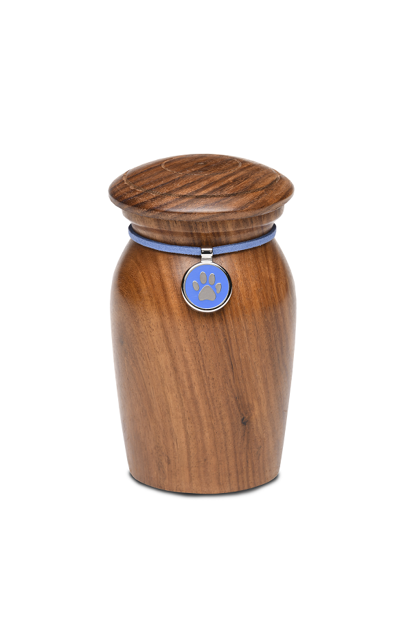 Extra Small Rosewood Vase with Blue Paw Print Charm Pet Cremation Urn for Ashes