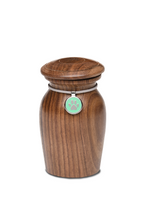 Extra Small Rosewood Vase with Green Paw Print Charm Pet Cremation Urn for Ashes