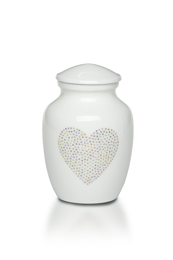 Small/Keepsake 30 Cu.Inch Sweet Paw Print Heart Pet Alloy Funeral Cremation Urn