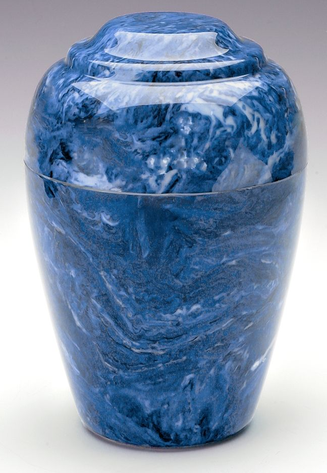 Grecian Blue Marble 35 Cubic Inches Funeral Cremation Urn For Ashes TSA Approved