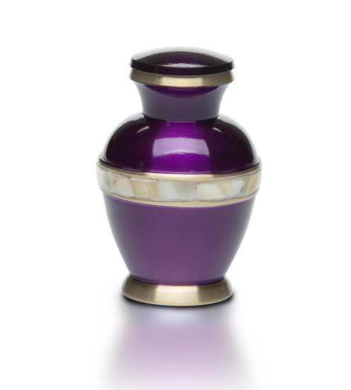 Keepsake Purple Jewel Tone Brass with Mother of Pearl Band Funeral Cremation Urn