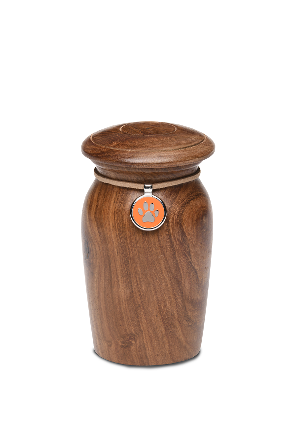 Extra Small Rosewood Vase with Orange Paw Print Charm Pet Cremation Urn