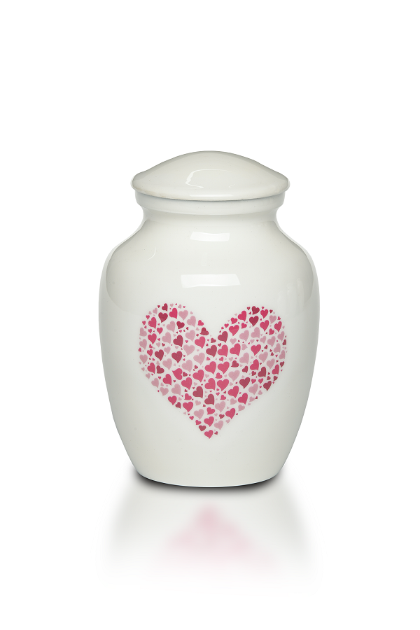 Extra Small 15 Cubic Inch Pink Heart Alloy Funeral Cremation Urn for Ashes