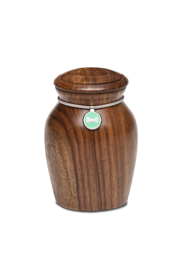 Small/Keepsakes Rosewood Vase with Green Bone Charm Pet Cremation Urn for Ashes