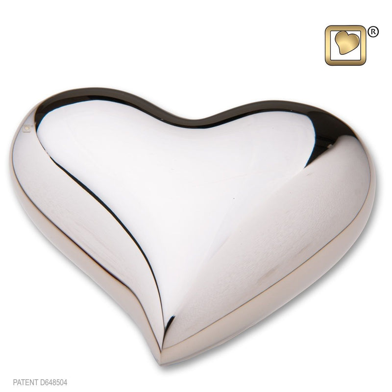 Heart Bright Silver Keepsake Heart Funeral Cremation Urn,  2.5 Cubic Inches