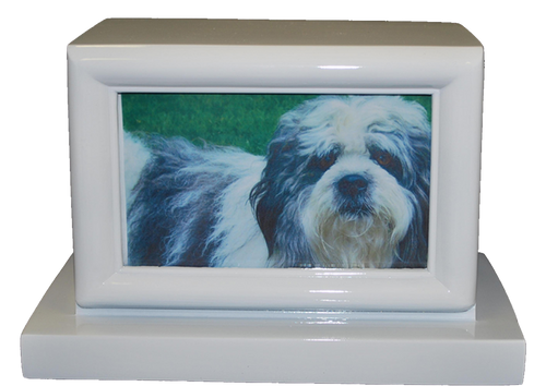 Large 100 Cubic Inch White KL Photo Funeral Cremation Urn for Ashes