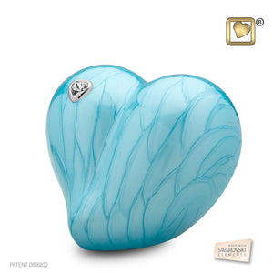 Heart Pearl Blue Funeral Cremation Urn, 3 Cubic Inches