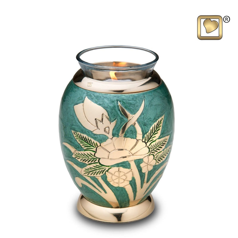 Emerald Rose Tealight Infant/Child/Pet Funeral Cremation Urn, 20 Cubic Inches